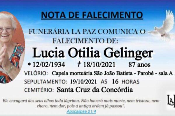 Falecimento Lucia Otília Gelinger